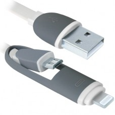 Кабель USB Am-microBM, насадка Lightning, комбо кабель, Defender USB10-03BP, белый - 1 метр