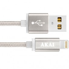 Кабель USB Am - Lightning, Akai CE-604, 1A тканевая оплётка, серебристый, 1 метр